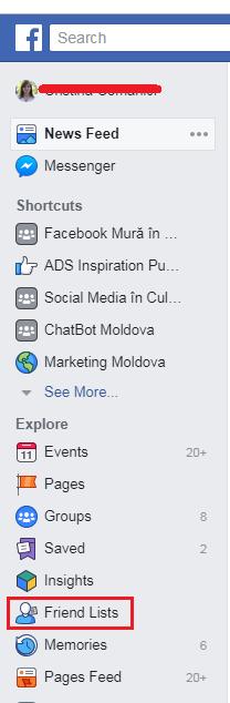 creare liste prieteni Facebook